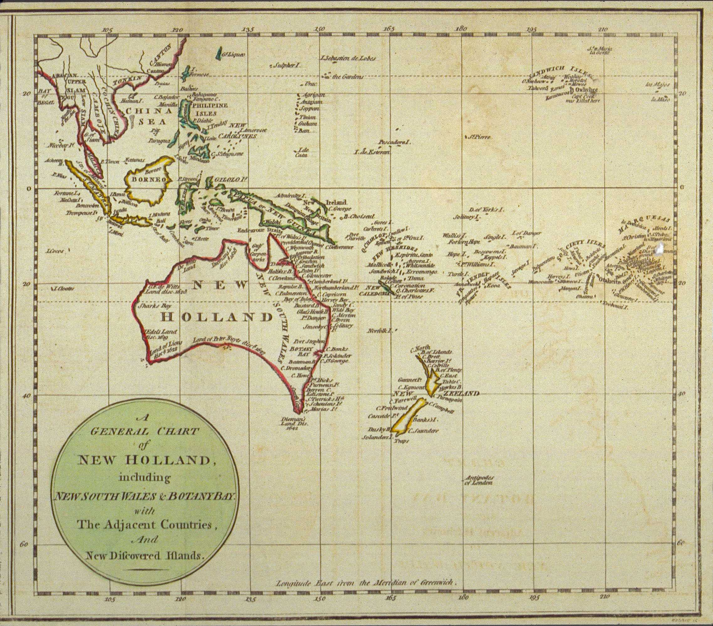 A General Chart of New Holland including New South Wales & Botany Bay with The Adjacent Countries and New Discovered Lands, published in An Historical Narrative of the Discovery of New Holland and New South Wales, London, Fielding and Stockdale, November 1786.