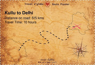Map from Kullu to Delhi