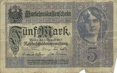 1917 Darlehnskassenschein (loan fund note) 5 Mark Banknote