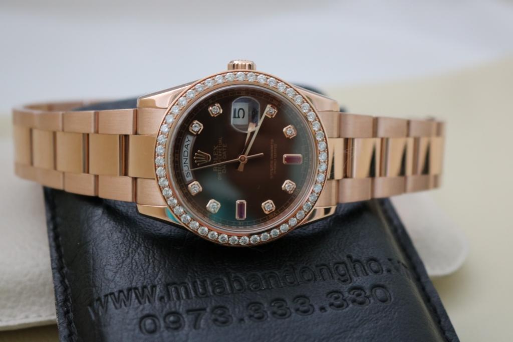 Đồng hồ rolex day date 6 số 118235 – vàng hồng – mặt ruby socola – size 36