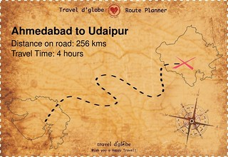 Map from Ahmedabad to Udaipur