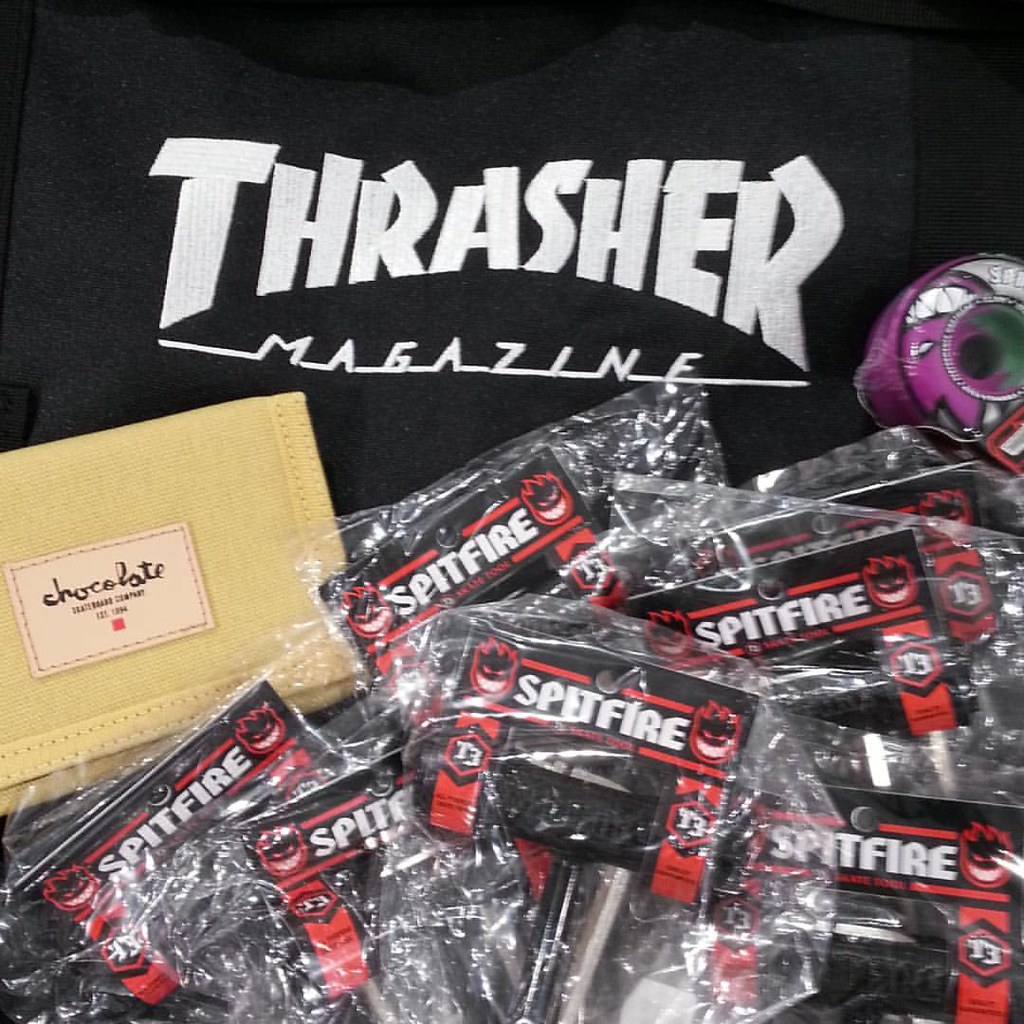 This Thrasher skate bag will hold 256 Spitfire tools, in case you were wondering. Chocolate wallet will fit anywhere. #thrasher #thrashermag #spitfirewheels #chocolateskateboards