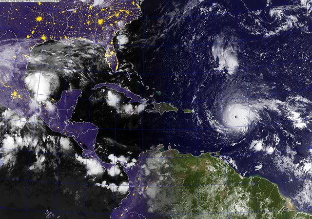 A GOES satellite image showing Hurricane Irma in the Atlantic Ocean.