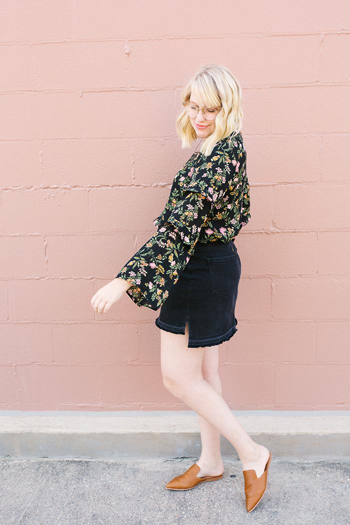 writes like a girl austin fashion blogger bell sleeves denim skirt7
