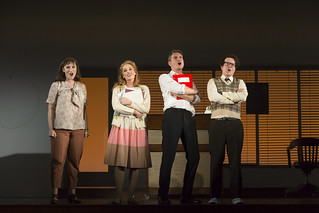 Eden Espinosa, Jennifer Ellis, Mark Umbers, and Damian Humbley in Merrily We Roll Along