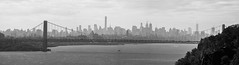 George Washington Bridge And New York City Skyline Seen From Palisades Interstate Parkway - Black And White Version; Englewood Cliffs, New Jersey