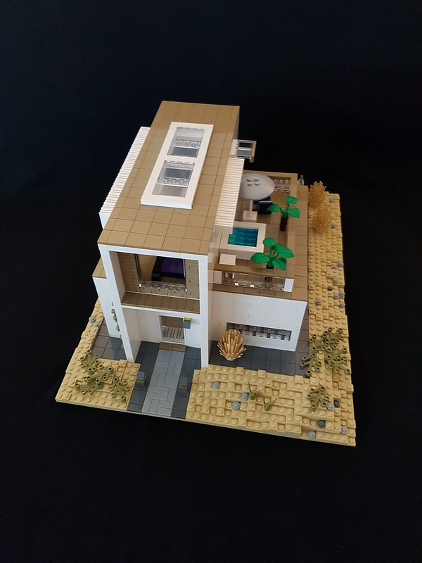 Whitebrick Sand House MOC exterior main entrance from above