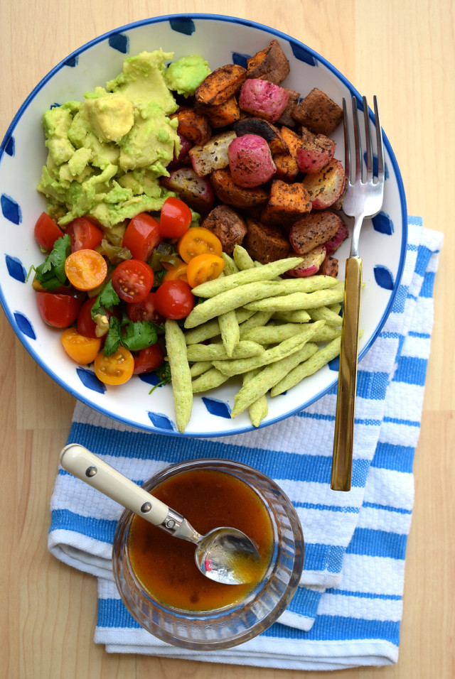 Mexican Roasted Sweet Potato Radish Tomato Bowl Www Rachelphipps Com