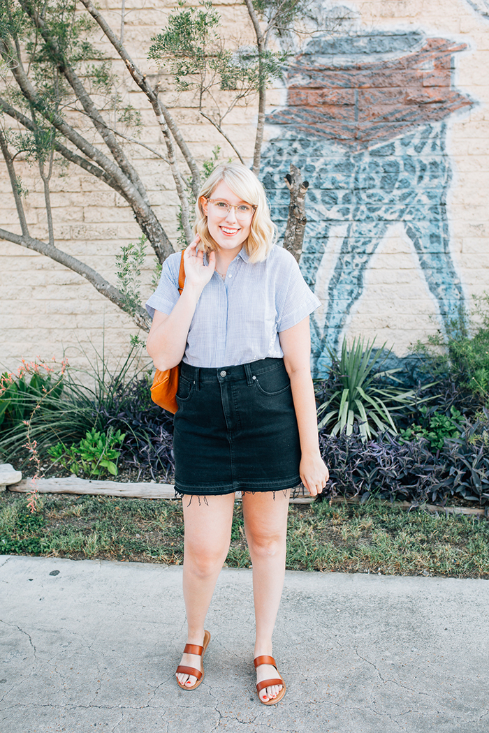 austin style blogger writes like a girl madewell denim skirt1