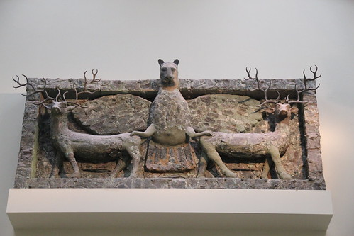 Lion-headed Imdugud (Anzu) Bird on Top of Two Stags, c. 2500 BC
