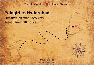 Map from Yelagiri to Hyderabad