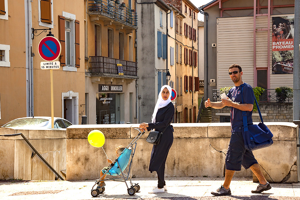 Muslim couple and child--Castres