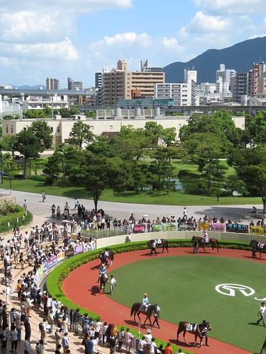 小倉競馬場の日本庭園とパドックとモノレール