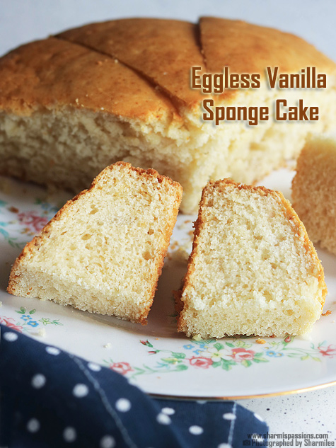 Eggless vanilla cake recipe