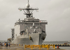 USS Pearl Harbor (LSD 52) sits along the pier in Goa, Aug. 24. (U.S. Marine Corps/Cpl. F. Cordoba)