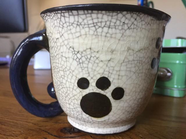 Artushka cat tea mug ceramic ceramics handmade cuddling kitty