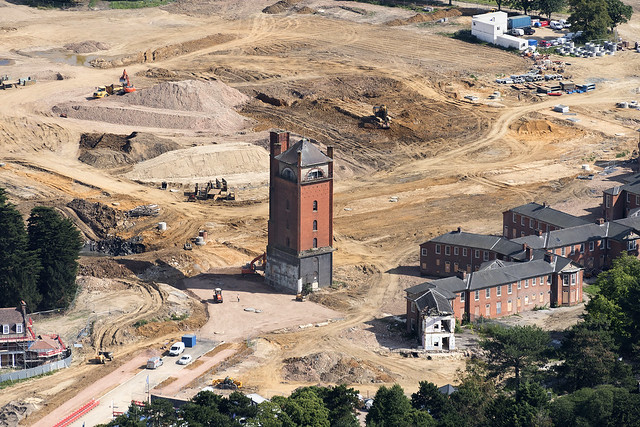 The water tower that once served Severalls Hospital in Colchester - Essex aerial