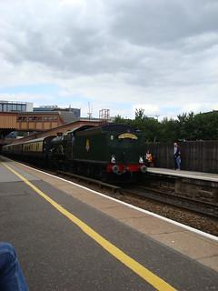 Castle class steam locomotive tender-first at Birmingham Moor Street