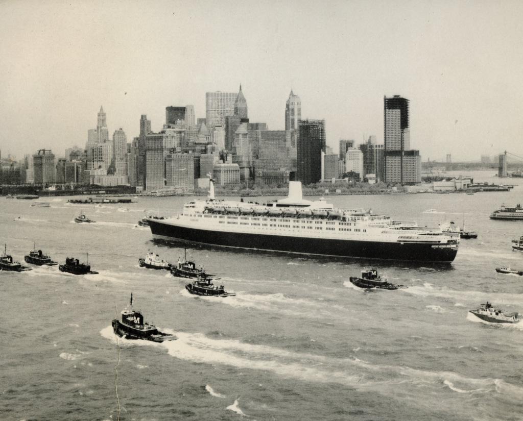 Queen Elizabeth 2 arrives in New York harbor following her maiden transatlantic voyage, May 7, 1969