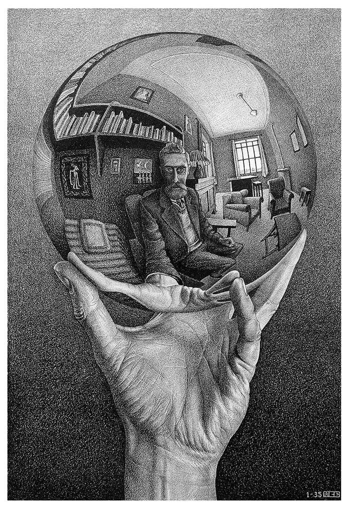 ESCHER_Mao-com-Esfera-Reflectora_