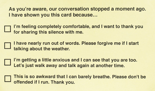 Conversational Silence Cards