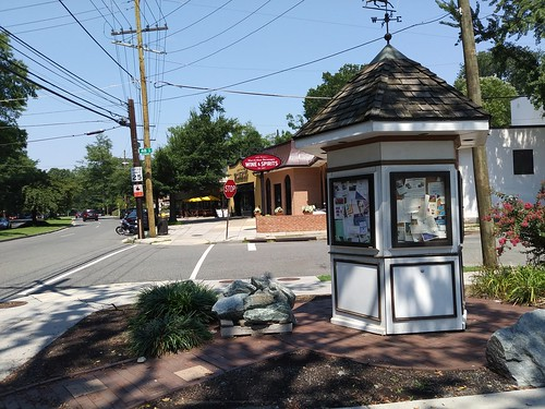 Community kiosk in the Palisades neighborhood of DC, MacArthur Road NW