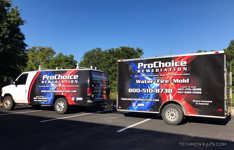 Van and trailer fleet vinyl wrap by TechnoSigns in Orlando