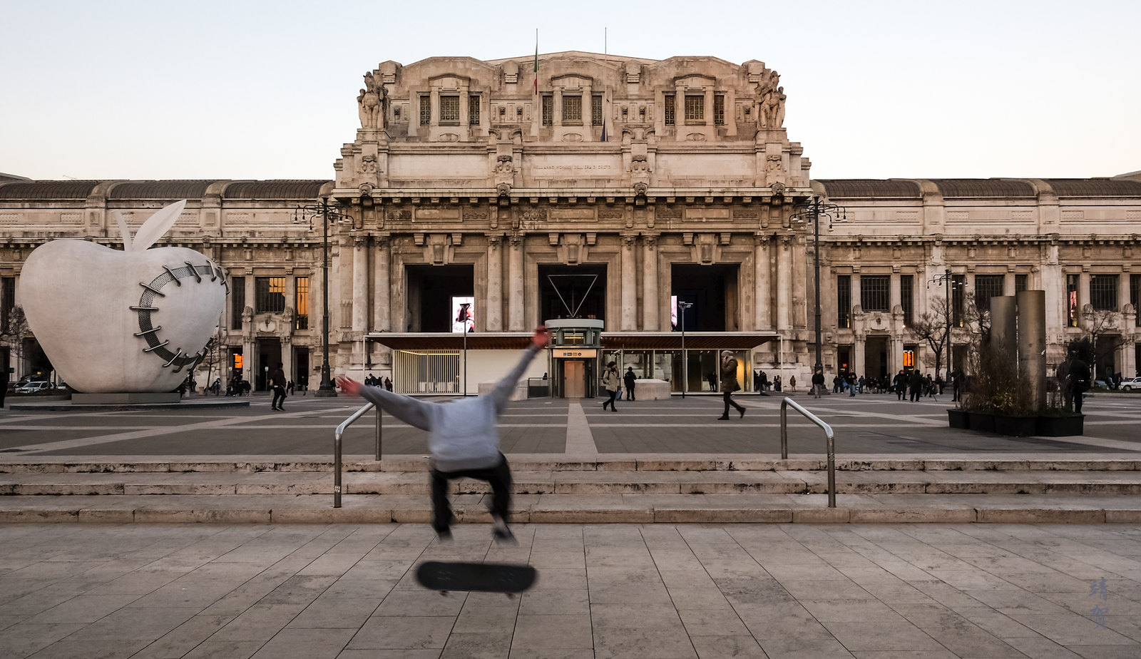 Skateboarder at Milano Centrale