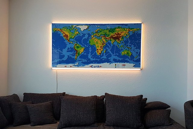 dirks LEGO world map 4 on wall