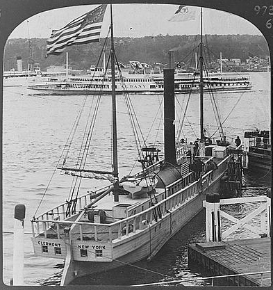 Clermont replica with steamboat Albany in New York harbor, 1910