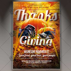 Thanks Giving Celebration - Autumn Flyer PSD Template