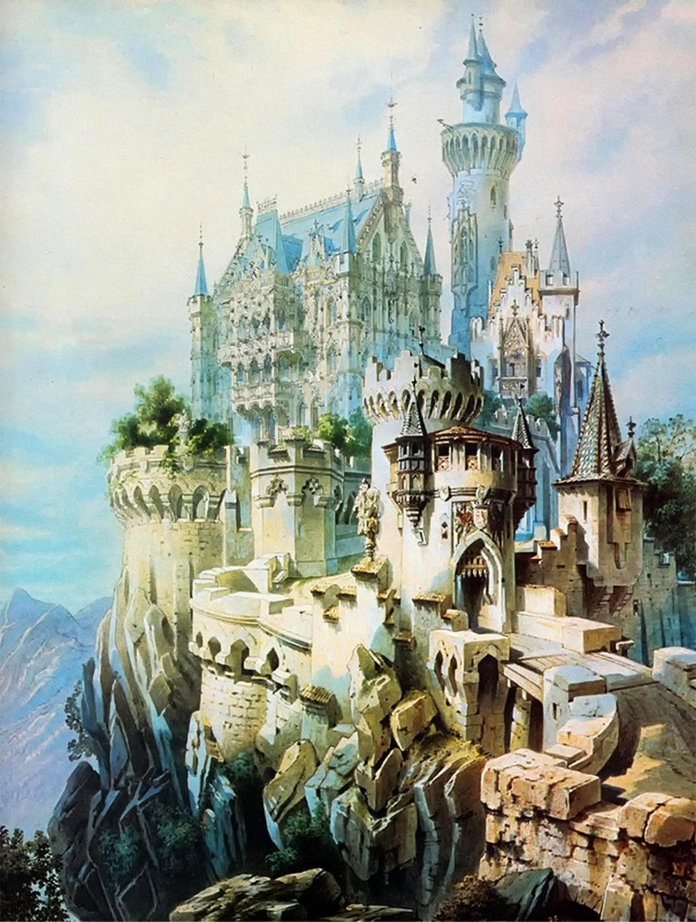 The fairytale dream concept for Falkenstein Castle of Ludwig II and Christian Jank, 1883