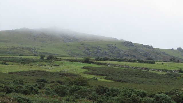 Sourton Tors shrouded in mist.