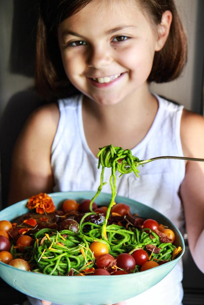 BLT Pesto Pasta (gluten free) from HeatherChristo.com