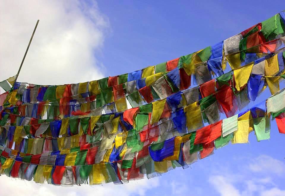 Buddhist prayer flags seen in and around Ladakh