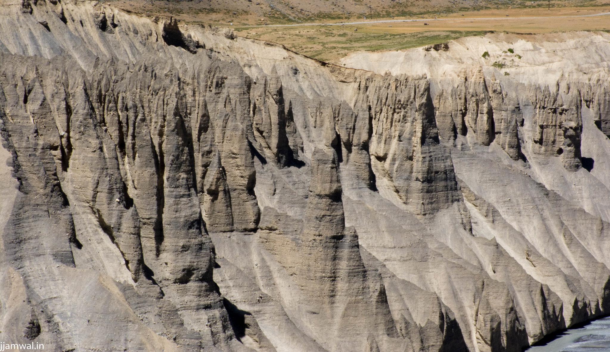 Eroded mountains forming razor sharp pillars