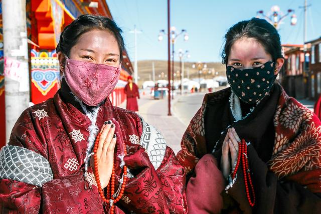 Beautiful women in ethnic costume, Yarchen Gar アチェンガルゴンパ 民族衣装を着たチベタン美女たち