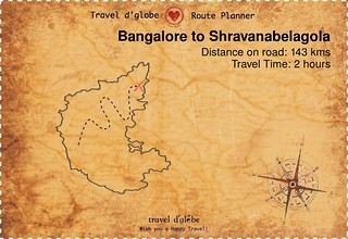 Map from Bangalore to Shravanabelagola