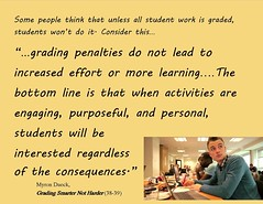 "Educational Postcard: ""...grading penalties do not lead to  increased effort or more learning….The bottom line is that when activities..."""