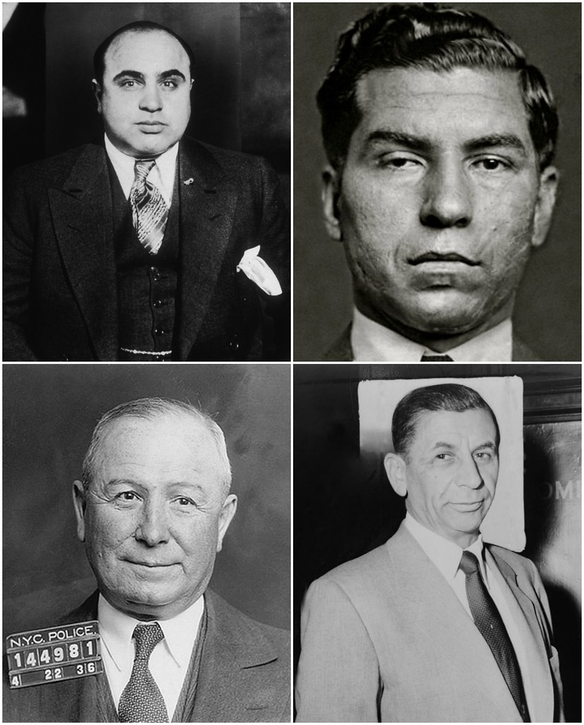20th-century Mobsters (Clockwise): Al Capone, Lucky Luciano, Meyer Lansky, and Johnny Torrio.