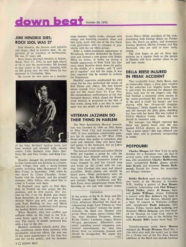 DOWN BEAT MAGAZINE 1970-10-29