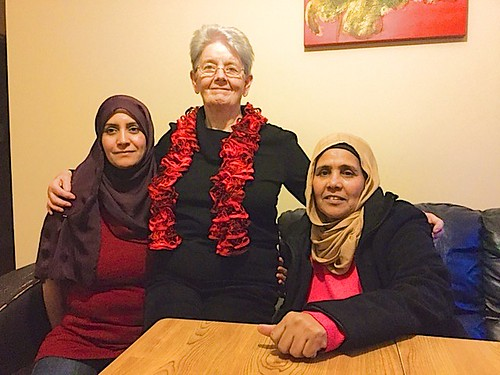 Anne Jordan SSL (centre), one of the teachers, is pictured with Feda from Palestine and Jeja from Somalia (now an Irish citizen) during one of the Fáilte Isteach classes