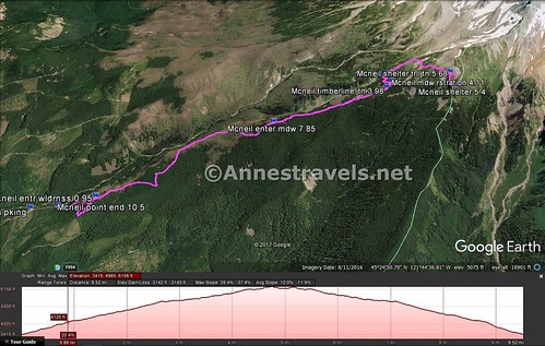 Visual trail map of the Mazama Trail to McNeil Point & elevation profile, Mount Hood National Forest, Oregon
