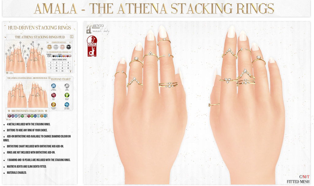 ✨Amala - The Athena Stacking Rings for C88✨ - SecondLifeHub.com