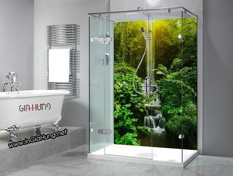 Phòng tắm kính cường lực cực lạ với tranh kính cường lực in tranh ảnh 3D