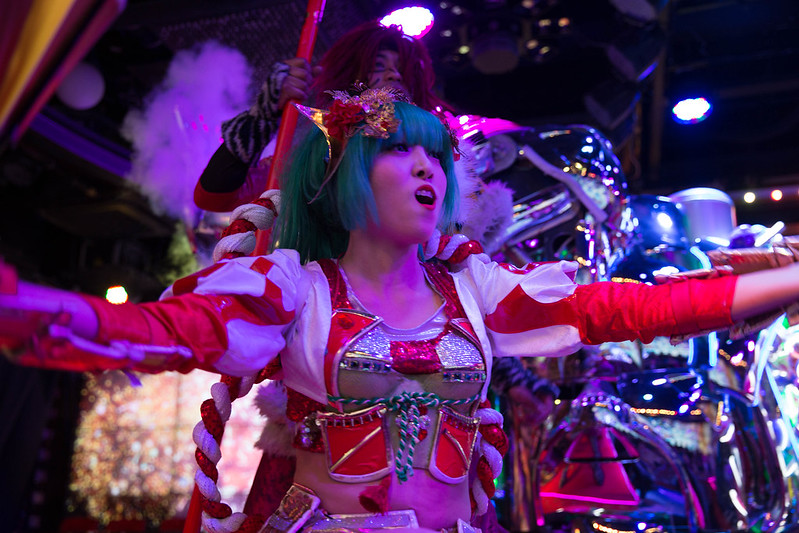 Performer entertaining the audience at the Robot Restaurant in Shinjuku, Tokyo