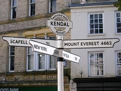 Kendal - mileage pointer - New York, Scafell, Mount Everest, Rinteln.
