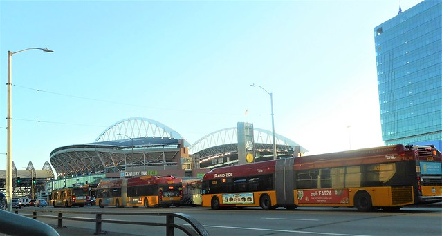 Metro Transit Buses after a Seattle Friday Rush Hour and a night with the Seahawks playing against Kansas City