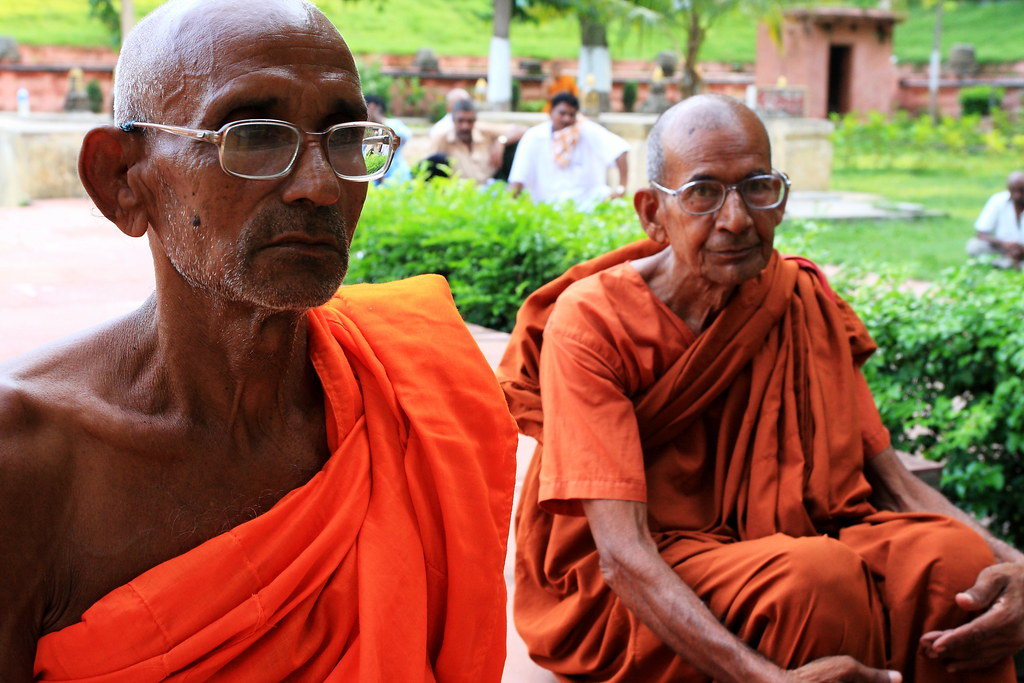 Indian Monks At Mahabodhi Temple, India