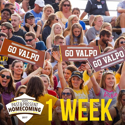 Cheering because it's ONE WEEK until Valpo Homecoming! (AKA one week until all our favorite people are all together on campus!) Join in the festivities by visiting http://ift.tt/2wfn2dC for an event schedule. #ValpoHome17